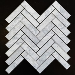 Super White Dolomite Herringbone Honed Marble Mosaic 25x98