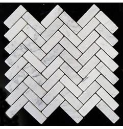 Carrara Herringbone Tumbled Marble Mosaic 25x75