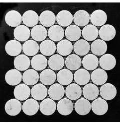 Carrara Penny Round Honed Marble Mosaic 48x48