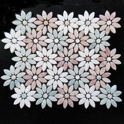 Flower Pattern Green Celeste/Thassos/Pink Tumbled Marble Mosaic