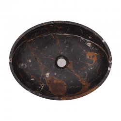 Black & Gold Honed Oval Basin Marble 2028
