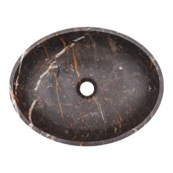 Black & Gold Honed Oval Basin Marble 2057