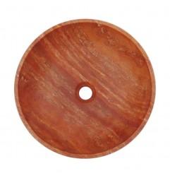 Rosso Honed Round Basin Travertine 2000