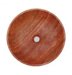 Rosso Honed Round Basin Travertine 2001