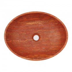 Rosso Honed Oval Basin Travertine 2002