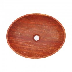 Rosso Honed Oval Basin Travertine 2003