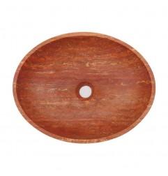 Rosso Honed Oval Basin Travertine 2005