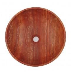 Rosso Honed Round Basin Travertine 2006