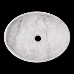 Persian White Honed Oval Basin Marble 1658