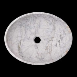 Persian White Honed Oval Basin Marble 1662