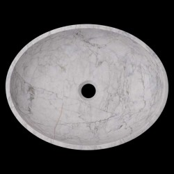 Persian White Honed Oval Basin Marble 1664