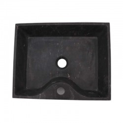 Black And Gold Honed Rectangle Basin With Tap Hole Marble 1693