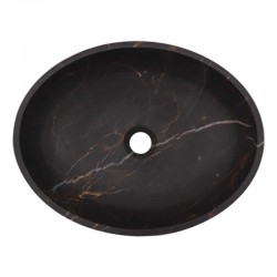 Black & Gold Honed Oval Basin Marble 2010