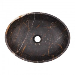 Black & Gold Honed Oval Basin Marble 2132