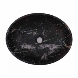 Black & Gold Honed Oval Basin Marble 1796