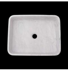 Persian White Honed Rectangle Basin Marble 1681