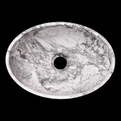 Persian White Honed Oval Basin Marble 2118