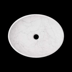 Persian White Honed Oval Basin Marble 2317