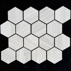 Serpeggiante Veincut Hexagon Honed Limestone Mosaic 70x70