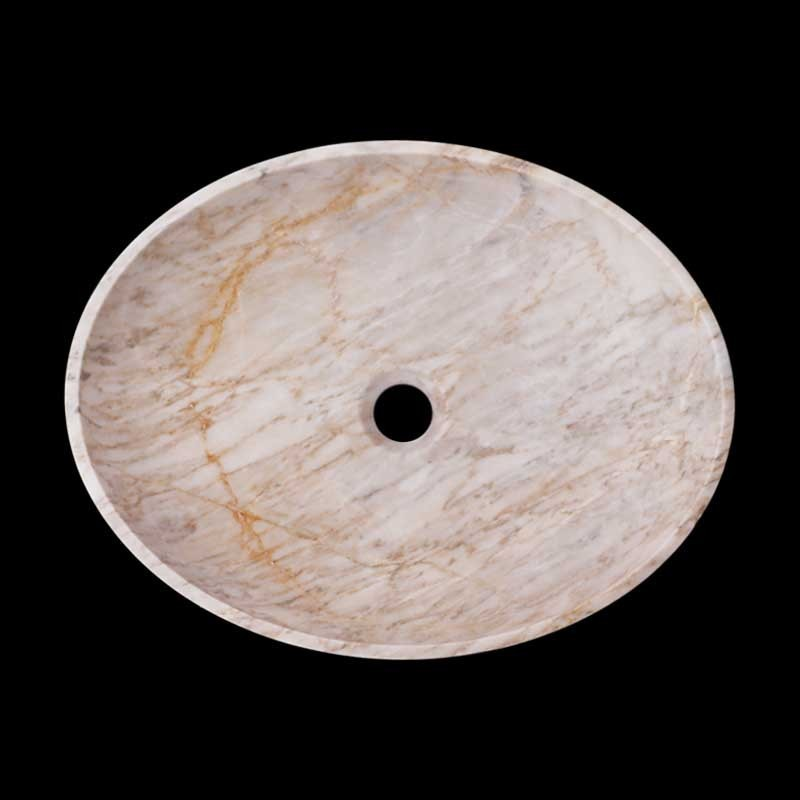 Persian White Honed Oval Basin Marble 2418