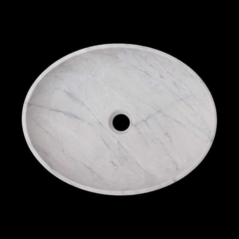 Persian White Honed Oval Basin Marble 2419