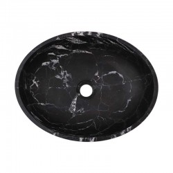 Nero Marquina Honed Oval Basin Marble 2467