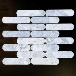 Super White Dolomite Long Oval Honed Marble Mosaic 150x35