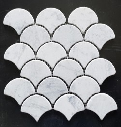 Carrara Fish Scale Fan Shaped Tumbled Marble Mosaic