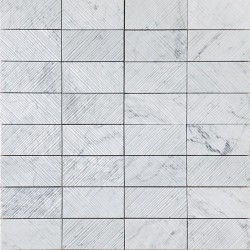 Carrara Chiselled Rectangle Marble Mosaic 75x150