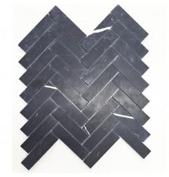 Nero Marquina Herringbone Honed Marble Mosaic 25x98