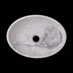 Persian White Honed Oval Basin Marble 2596