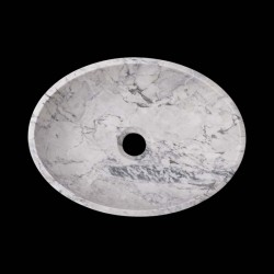 Persian White Honed Oval Basin Marble 2598