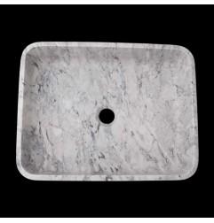 Persian White Honed Rectangle Basin Marble 2373