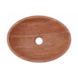 Rosso Honed Oval Basin Travertine 2249