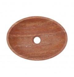 Rosso Honed Oval Basin Travertine 2249