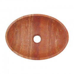 Rosso Honed Oval Basin Travertine 2246