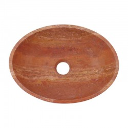 Rosso Honed Oval Basin Travertine 2247