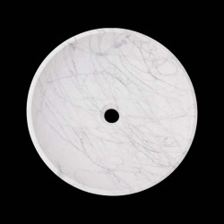 Persian White Honed Round Basin Marble 2194