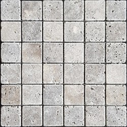 Silver Tumbled Travertine Mosaic 50x50