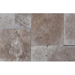Travertine Noce Paver Tumbled - Cross Cut - French Pattern 300mm