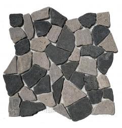 Brown Onyx & Black Random Honed Marble Mosaic