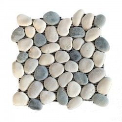 Tan & Black & White Natural Interlocking Pebble Squares