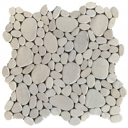 White Mini Combination Honed Sliced Pebble Squares
