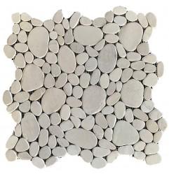 White Mini Combination Tumbled Sliced Pebble Squares