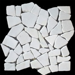 Ice Random Honed Marble Mosaic