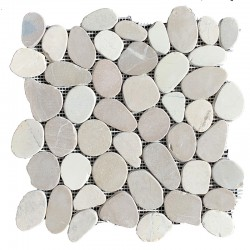 Tan & White Tumbled Sliced Pebble Squares