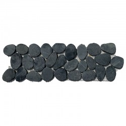Black Tumbled Sliced Pebble Borders