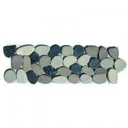 Tan/Black/White Tumbled Sliced Pebble Borders