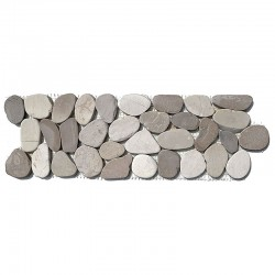 Tan & White Tumbled Sliced Pebble Borders