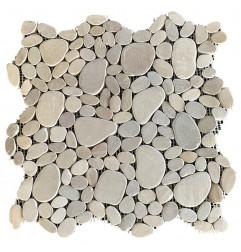 Tan Mini Combination Honed Sliced Pebble Squares